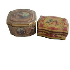 2 Vintage Meister & Othe Collector Metal Tin Box Storage Container Brazil Floral