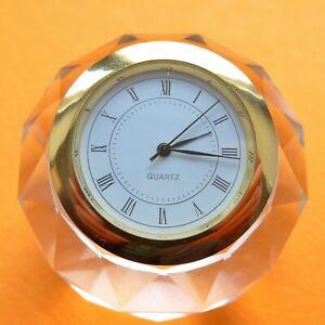 "Pretty Table Clock ("" Crystal Ball ""), Quartz, Flawless Function, New Battery"