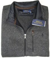 NEW $148 Polo Ralph Lauren Mens Sleeveless Vest  Dark Gray Full Zip Fleece Grey