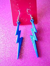 2 1/4 Inches Long Blue Lightening Bolt Dangle Earrings