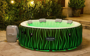 6 Person Inflatable Hot Tub Spa Saluspa Jacuzzi with LED Lights, Pillows, Pump