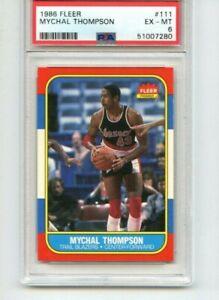 1986 Fleer Basketball #111 Mychal Thompson RC Rookie   PSA 6