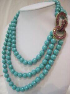 "HEIDI DAUS ""Fascinating Fascinator"" Turq. Beaded Necklace (Orig.$169.95)-LAST 1!"
