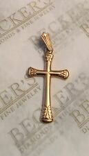 Vintage 14k solid Pink Rose gold Etched Cross Pendant with Large Bail, signed