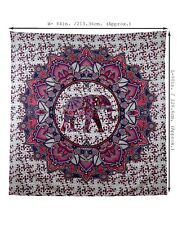 Indian Mandala Wall Hanging Tapestry Bed Sheet Cover Purple & Pink Elephants 90""