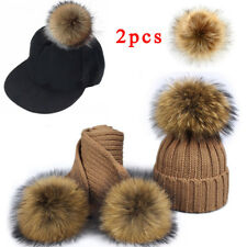 2pc 10cm Faux Raccoon Fake Fur Hair Big Ball Fluffy Pompom Pendant Hat Bag Shoes