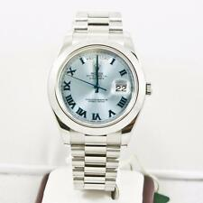 Rolex 41mm Platinum Day Date II 218206 Glacier Roman Dial & Smooth Bezel W Card