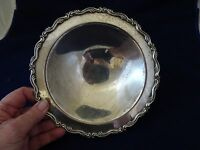 VTG. SILVERPLATE FOOTED SERVING BOWL/DISH-UNMARKED-SCROLL EDGES-