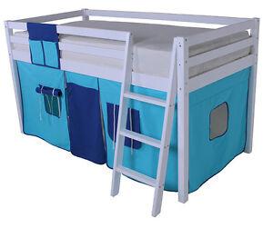 Cabin Bed Bunk Loft Mid Sleeper  Ladder Boys Blue New Single