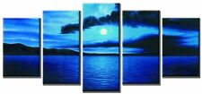 5 Piece Modern Art Abstract Painting Canvas Waves Sunset Framed Big Hang Ready