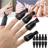 10pcs Plastic Nail Art Soak Off Clip Cap UV Gel Polish Remover Wrap Tools Black