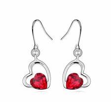 Romantico Cristallo Fonde Rosso & Strass Cuori Goccia Orecchini E579