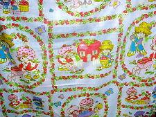 50 X 83 STRAWBERRY SHORTCAKE vintage FLAT BED SHEET 1980 American Greetings Corp