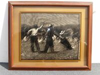 Vtg Signed Remington 3 Cowboys & Horses Raised Glass Etching Picture Painting