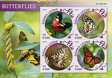 Sierra Leone 2016 MNH Butterflies 4v MS Insects Viceroy Postman Butterfly Stamps