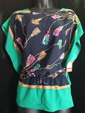 NEW ELLEN TRACY Misses Womens Cap Sleeve Blouse Top XS Graphic Green Navy Org$79
