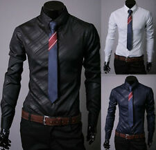 Luxury Fashion Mens Slim Fit Long Sleeve Dress Shirts Formal Casual Shirt Tops