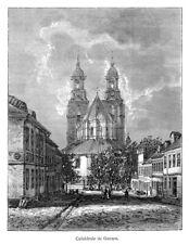 Gniezno, Gnesen, Polen, Ansicht mit Kathedrale,, Original-Holzstich von 1888