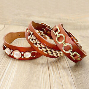 Pet Dog Cat Puppy Leather Fashion Collar Brown French Bulldog Pet Accessories