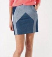 Maje Womens Mini Skirt Blue Patchwork Denim Above Knee Size 40 Large