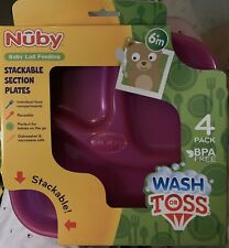 New Nuby Pack Of 4 Wash Or Toss Stackable Reusable Sectional Plastic Plates New