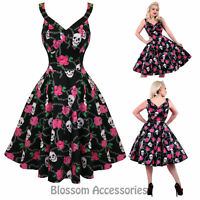 RKH58 Hearts and Roses H&R Skully Rockabilly Formal Evening Dress 50s Retro Plus