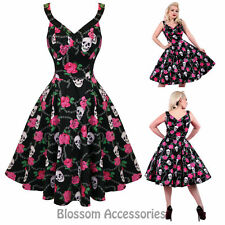 RKH58 Hearts and Roses H&R Skully Rockabilly Formal Evening Dress 50s Retro Plus