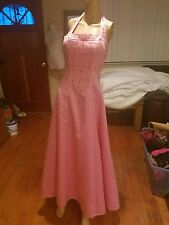 Morgan & Co. Prom dress size 7/8 pink halter full length beaded
