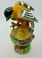 Vintage Ceramic Gold Finch Feed Baby Bird Nest  Figurine Hand Painted Japan NOS