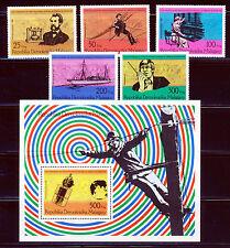 MADAGASCAR 1973 TELECOMMUNICATIONS SET + SOUVENIR SHEET SCOTT 553-58
