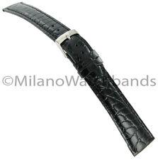 18mm Morellato Black Crocodile Grain Genuine Leather Stitched Watch Band Mens