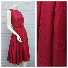 Vintage 1970s Silk Red Polka Dot Full Circle Skirt Prom Midi Dress Small Medium
