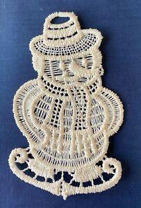 Christmas Decoration/Ornament - cream lace - Snowman on Skates