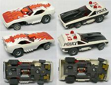 2pc Aurora AFX G+ Screecher Magna Steering Super Barracuda +Police Vega Slot Car
