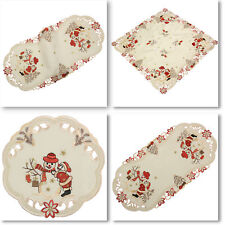 Snowman Winter Christmas Embroidery Tablecloth Table runner Overlay Doily Cream