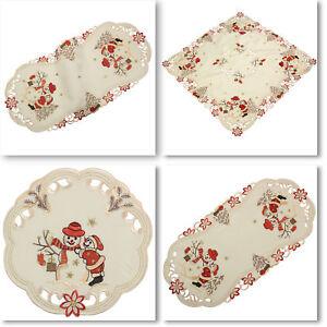 Snowman Winter Christmas Embroidery Tablecloth Table runner Overlay Doily Cream