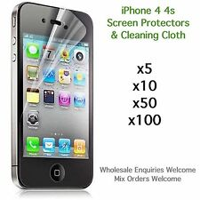iPhone 4 4s screen protectors and cleaning cloth wholesale job lot