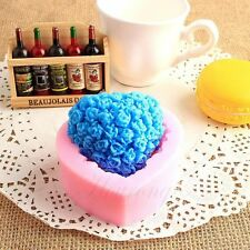 Soap Mould Heart Rose Love Flexible Silicone Mold For Handmade Clay Candy Candle