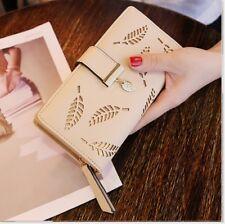 Womens Ladies Envelope Leather Wallet Card Button Clutch Zip Purse Long Handbag