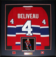 Jean Beliveau Montreal Canadiens signed red jersey frame