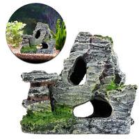 Mountain View Aquarium Rock Cave Tree Bridge Fish Tank Ornament Rockery Decor D#