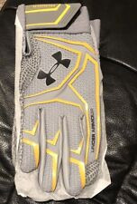 Nwt Under Armour Men's Yard ClutchFit Batting Glove Grey Gold X-Large