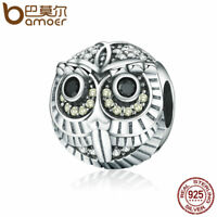 BAMOER Retro 925 Sterling silver charm Cute owl Bead With CZ For Women bracelet