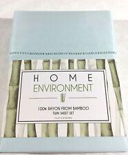 TWIN Sheet Set 100% Silky Bamboo Twill Solid 3p Home Environment Blue-Green Aqua