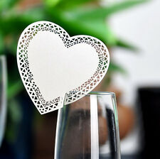 60 Ivory Heart Wedding Name Place Cards Wine Glass Laser Cut On Pearlescent Card