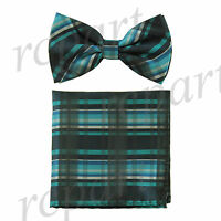 New Men's micro fiber Pre-tied Bow tie & hankie set blue checkers formal