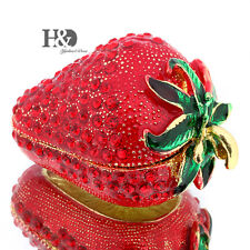 Strawberry Crystal Metal Trinket Boxes Figurines Wedding Collectibles Decor Gift