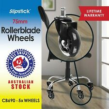 "Slipstick CB690 3"" Roller Blade Office Chair Wheels (Set of 5) Black"