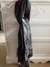 River Island Black Purple Lightweight Scarf Shawl Wrap