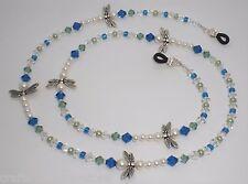 White Pearl Dragonfly Austrian Crystal Blue/Green Bead Mix Eyeglass Chain